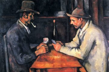 Surveying The Card Players Paintings by Paul Cezanne