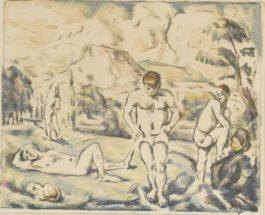 Paul Cezanne-Les Baigneurs (Grand Planche)-1898