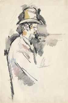 Paul Cezanne-L'homme a la pipe (Etude pour un joueur de cartes) (recto); Pere Alexandre (verso)-1892