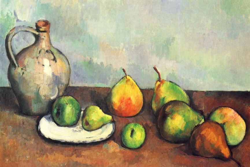 original oil food paintings on canvas featuring a green apple