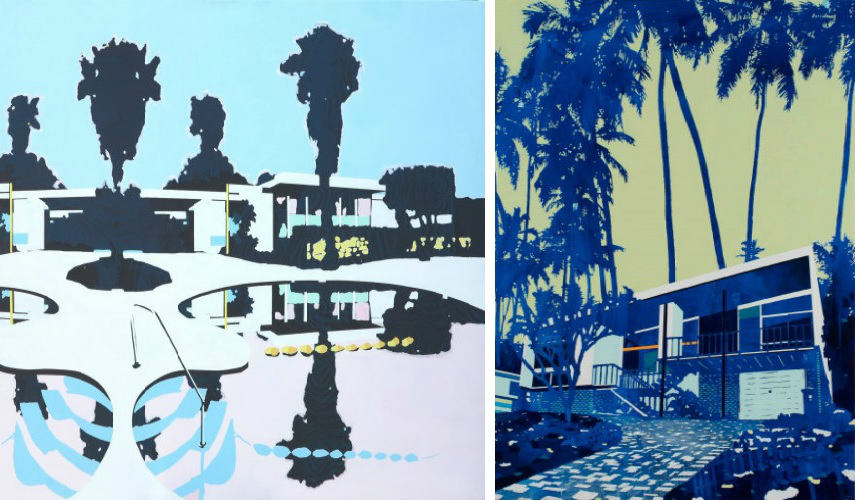 Paul Davie - Home Mirror Flip, 2015 (Left) - House and Palms (Right)