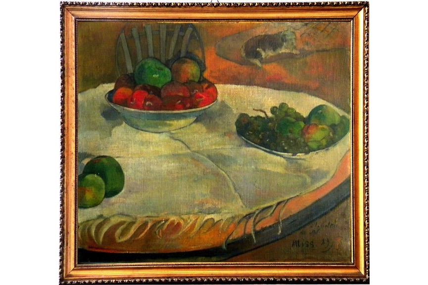 Paul Gauguin - Fruits on a Table (Still Life with a Small Dog), among rediscovered paintings painted in1889