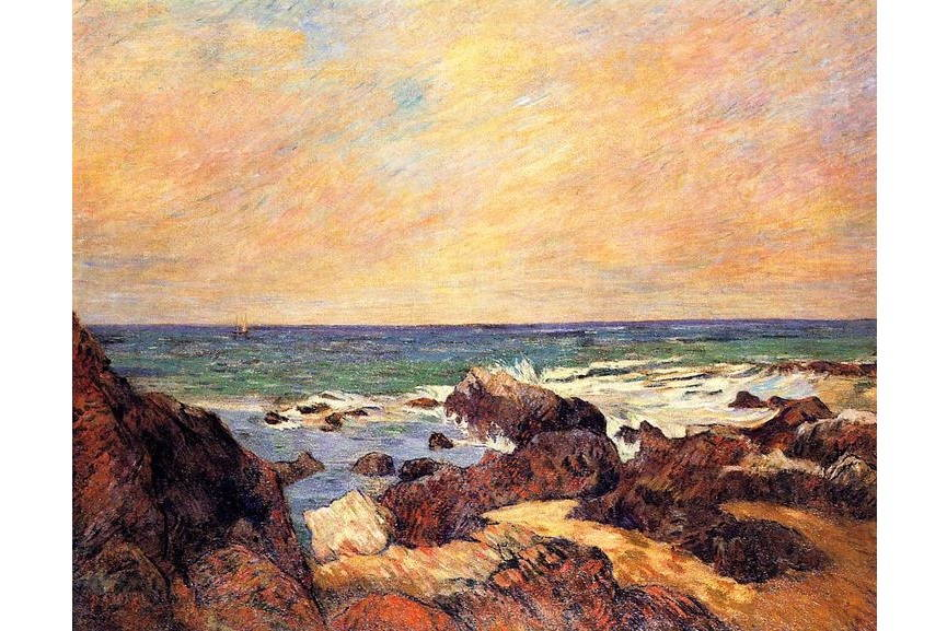 Paul Gauguin Rocks and sea