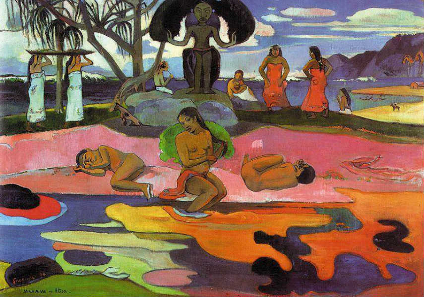 Paul Gauguin - The Day of the God, 1894, photo credits gauguin.org pont aven impressionist paul paris life gogh gallery painting life portrait works