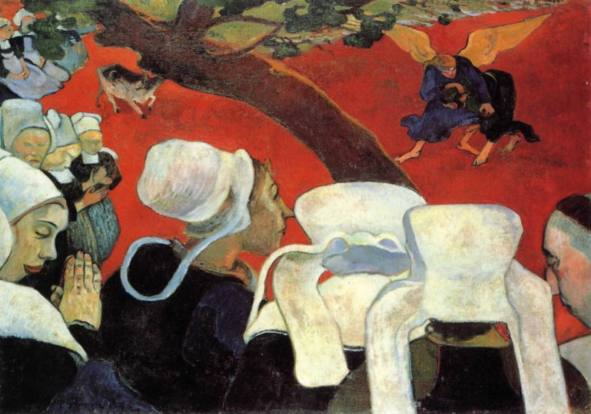 Paul Gauguin - Vision After the Sermon, photo credits artbible.info tahiti paintings vincent family paul pont gallery painting life portrait modern works impressionist