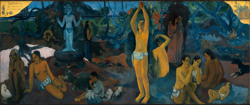 Paul Gauguin - Where do we come from What are we Where are we going, 1897, photo credits en.wikipedia.org tahiti vincent pont modern impressionist family paintings