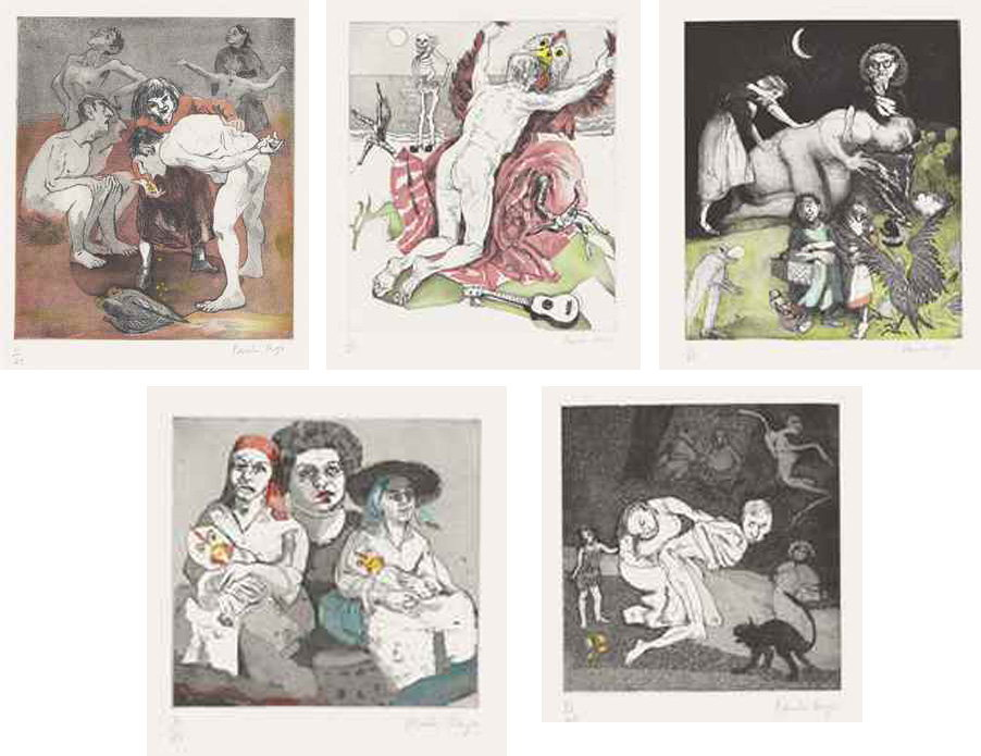 Paula Rego-Moon Eggs (The Complete Set of Five Etchings and Aquatints With Hand-colouring by Charlotte Hodes)-2005
