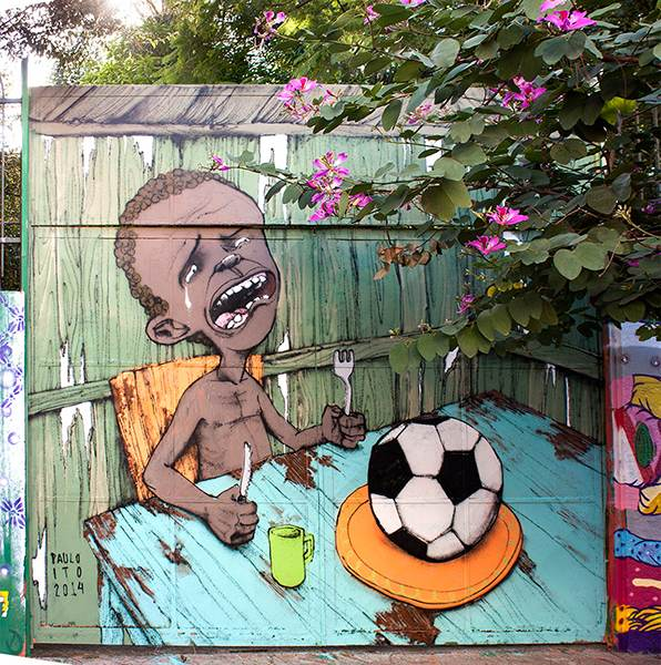 Paulo Ito's mural criticizing the 2014 World Cup
