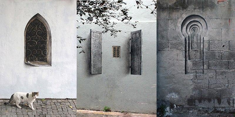 Pejac, Üsküdar's Lock, Poster and Shutters, Istanbul, 2014