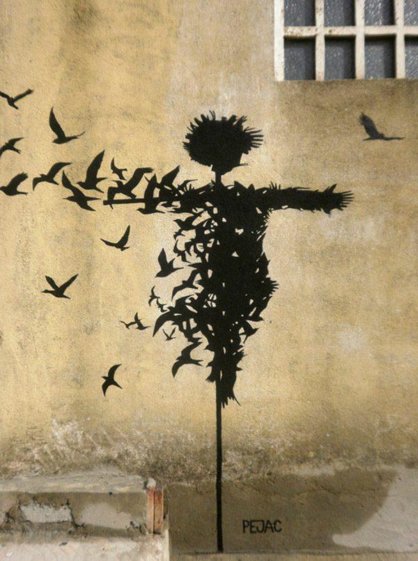 Pejac - Esparcepájaros (Bird spreader) - detail - Salamanca, Spain, 2014, street art, mural