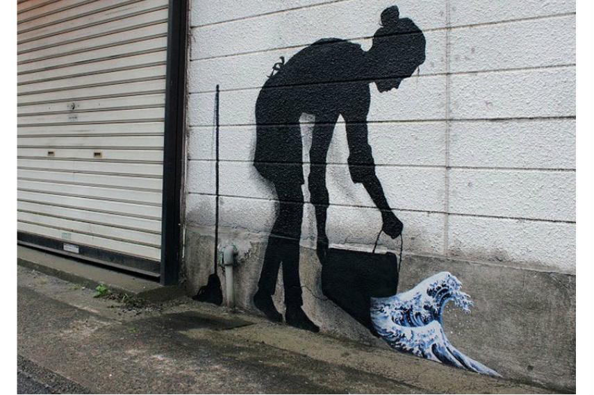 Pejac street art Reinterpreting Hokusai, Tokyo