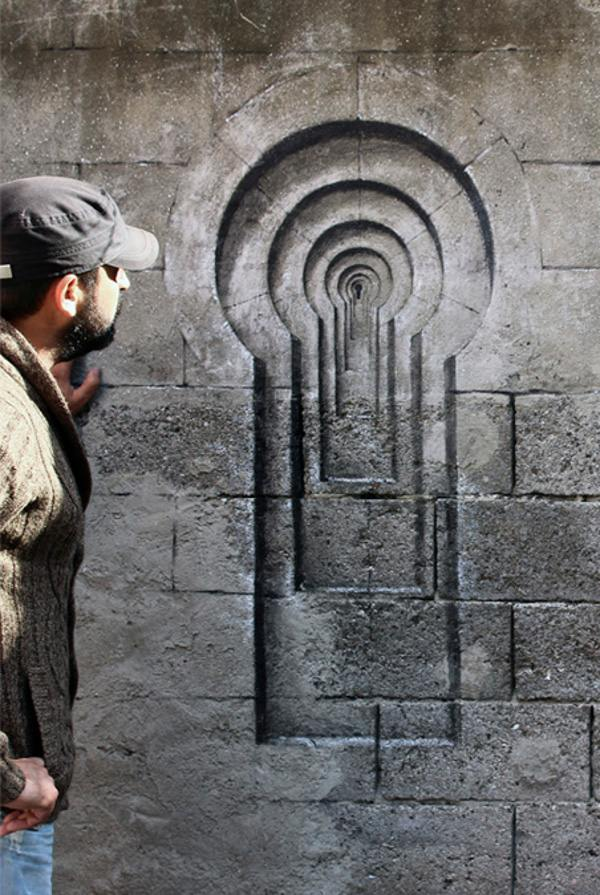 Pejac - Lock - Blind Windows series - Istanbul, Turkey, 2014, street art, mural
