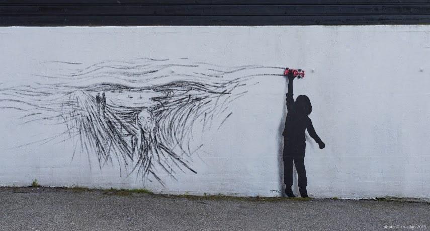 Pejac - Scream for NuArt Festival, Stavanger, Norway, 2015 - image © aruallan
