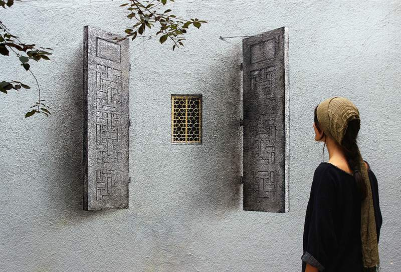 Pejac - Shutter - Blind Windows series - Istanbul, Turkey, 2014, street art, mural