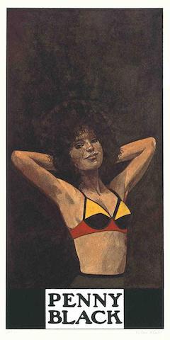 Peter Blake-Penny Black; Ebony Tarzan, from the Wrestlers Suite-1972