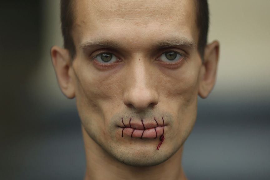 Petr Pavlensky is one of the protest artists who takes protest art to its extremes