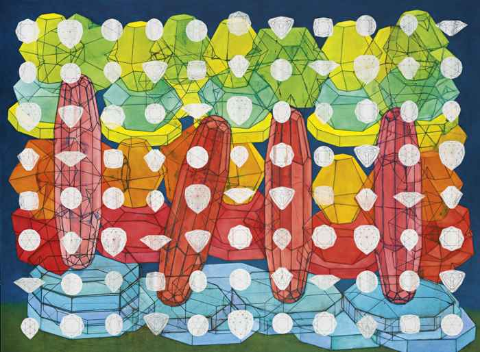 Philip Taaffe-Painting With Gemstones-2006