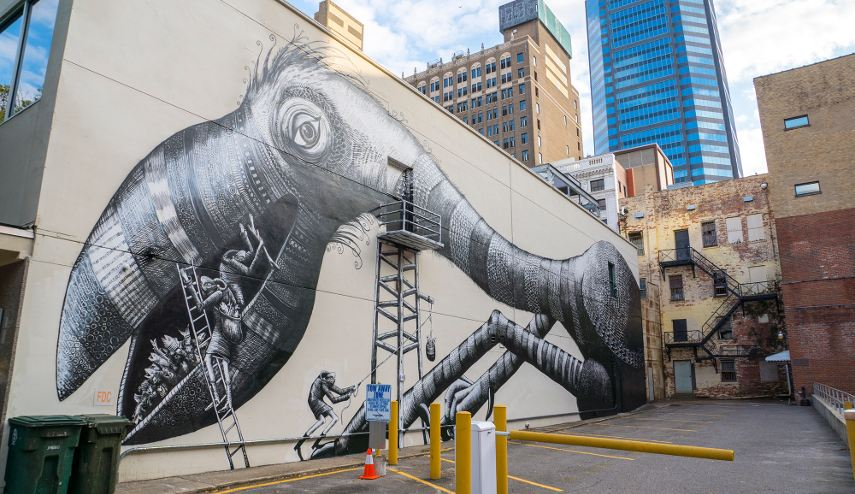 Phlegm - A Mural in Jacksonville, Florida, 2016 - Image courtesy of Iryna Kanishcheva