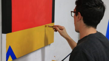 Photo of Agostino Iacurci Working in His Studio
