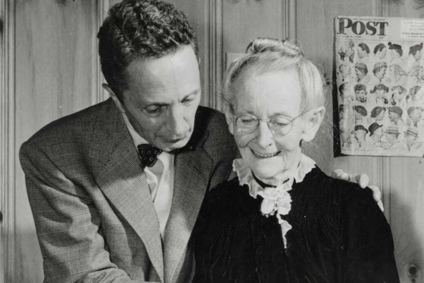 Photo of Norman Rockwell and Grandma Moses, circa 1949