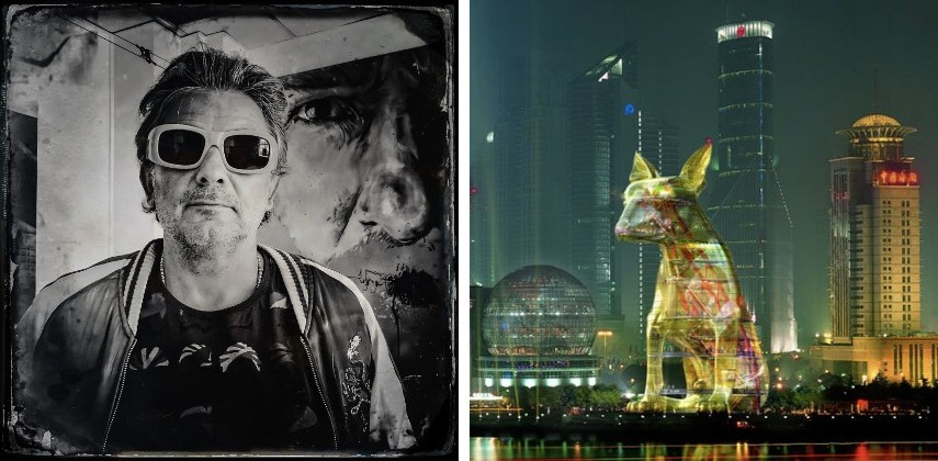 Photo of the artist - Image via mediumcom (Left), Lost Dog in Shanghai - Image via eluxemagazinecom