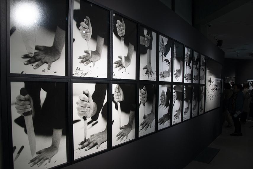 Photographs of Marina Abramović's Rhythm 10 at MOCA Belgrade