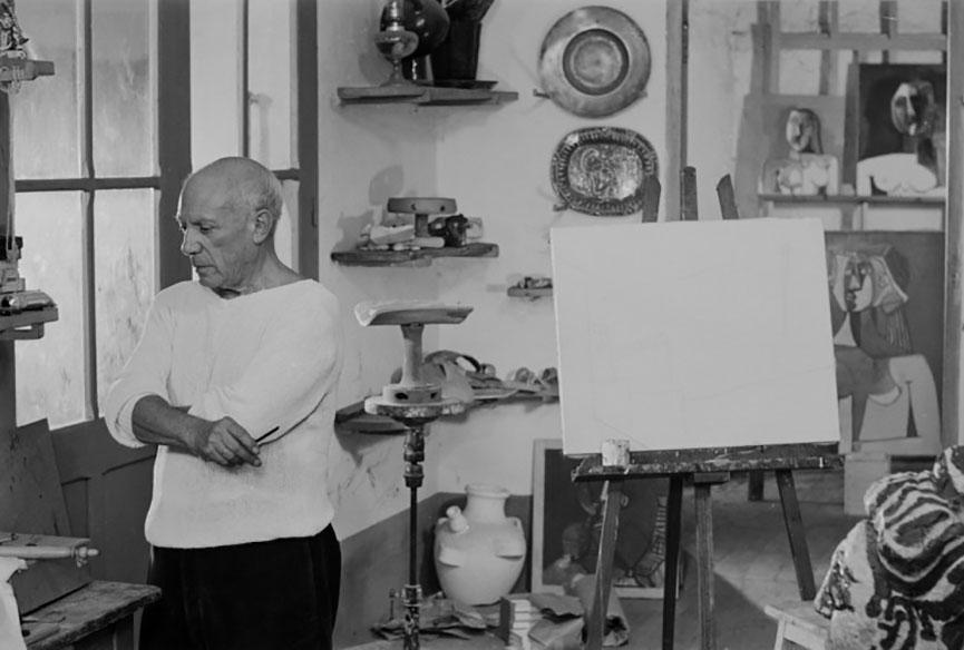 Pablo Picasso's studio in Vallauris, 1953