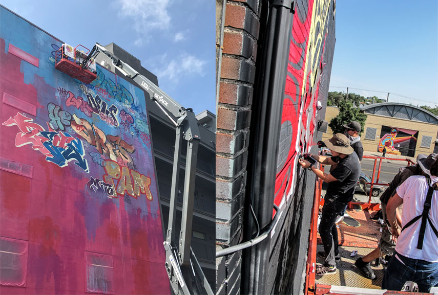 PichiAvo and Shepard Fairey at CRUSH WALLS 2018