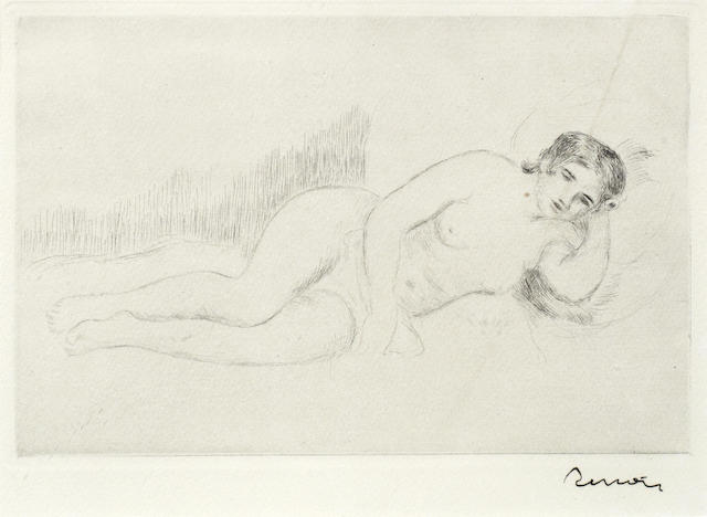 Pierre-Auguste Renoir-Femme nue Couchee; Tournee a Droite-1906