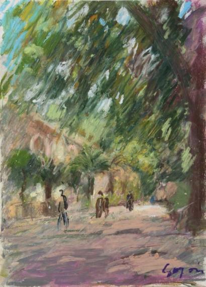 Pierre Gogois-Les palmiers devant l'Orangerie-