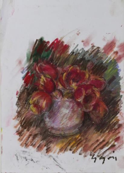 Pierre Gogois-Tulipes au vase blanc-