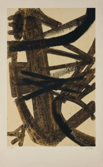 Pierre Soulages-Composition en brune et jaune (Composition in Brown and Yellow)-1960
