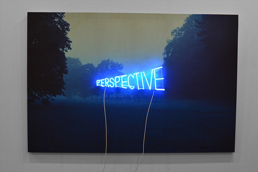 Piotr Kowalski - Perspective, 1970. Photography on canvas with blue neon, 130 x 195 cm. Courtesy Galerie Eva Meyer