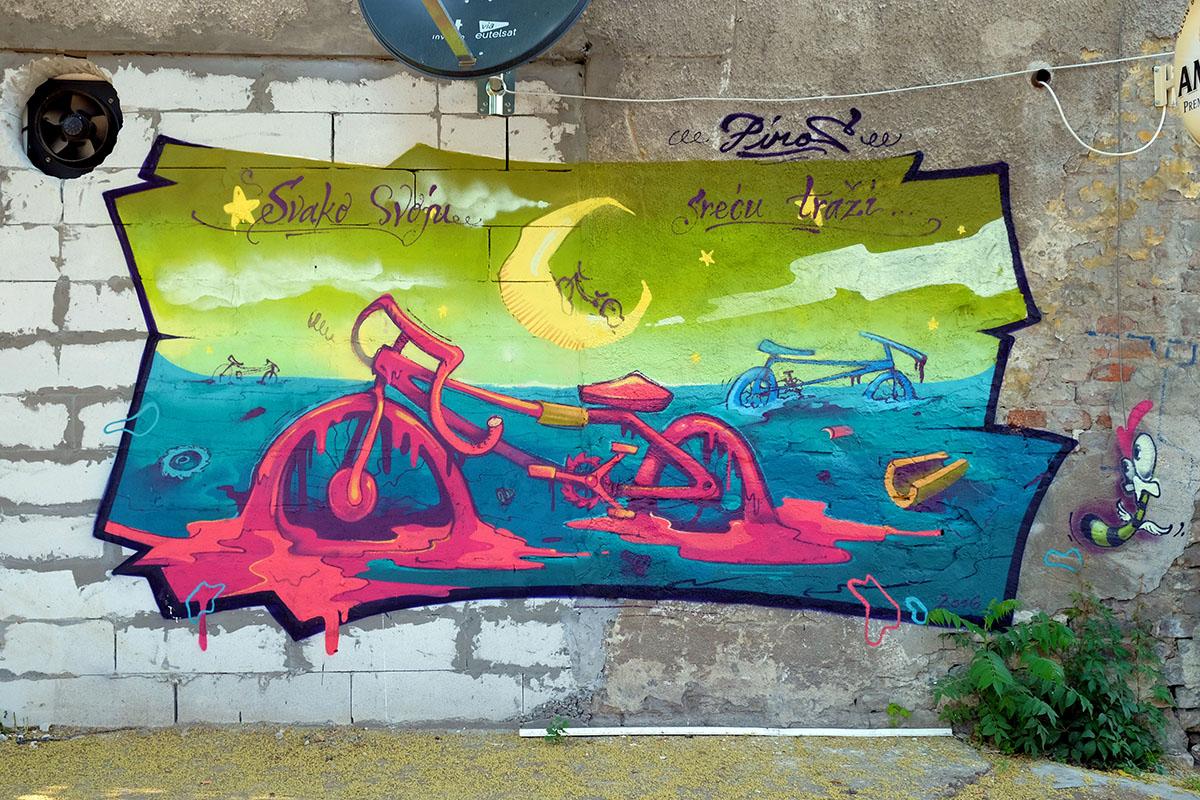 Piros mural Belgrade