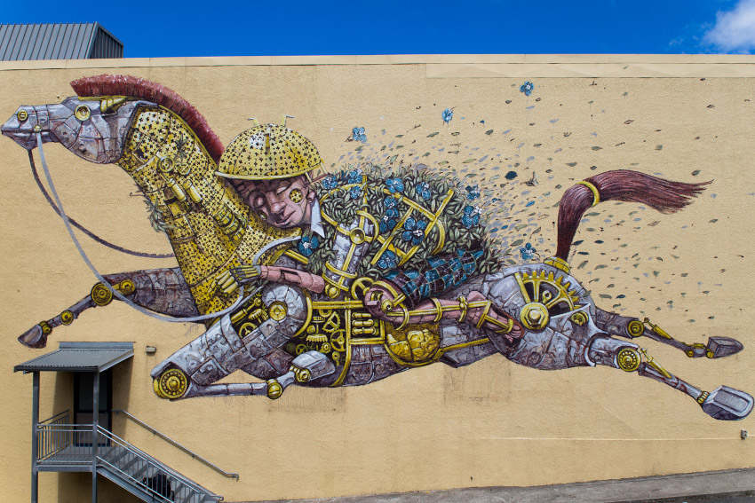 Pixel Pancho - Riding the Dreams, pixelpancho paints the walls of the cities he visits and account