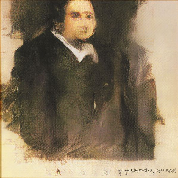 Portrait of Edmond de Belamy, oneof a group of ai generated portraits of the fictional Belamy family