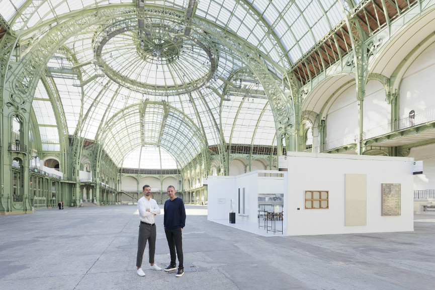 "Portrait of Elmgreen & Dragset in front of the one-day installation ""Elmgreen & Dragset present Galerie Perrotin at the Grand Palais"" in Paris on Saturday September 24, 2016. Photo: Claire Dorn  Courtesy Galerie Perrotin"