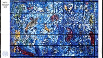 Postal mark featuring Marc Chagall UN stained glass window