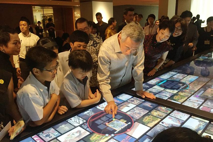 Prime Minister Lee Hsien Loong with elementary school children at the opening november, city, public, supreme, hall, court