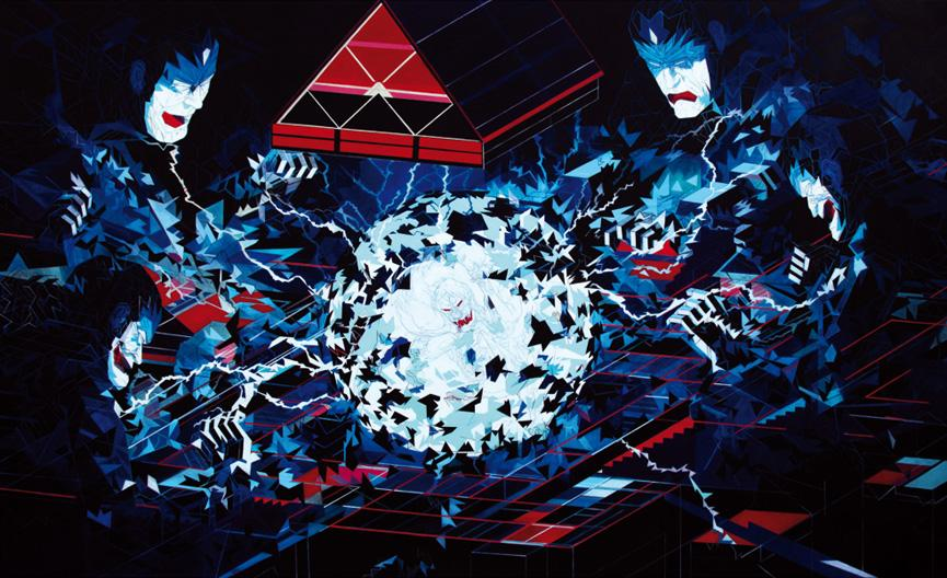 Jon Fox - Prisoners Cinema - oil on canvas- 150 x 250 cm-small