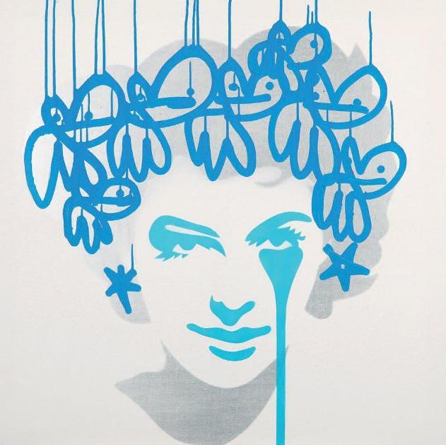 Pure Evil - Frank Sinatra's Nightmare - Vertigo Ava, Blue, 2014 (76 x 76 cm)