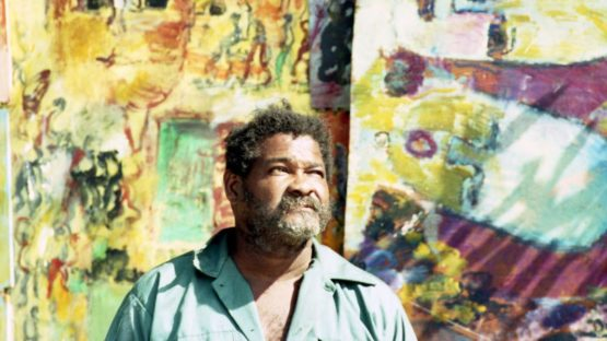 Purvis Young outside his house in Overtown, 1993 - photo credit Patrick Farrell