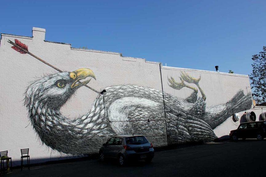 urban art bird murals