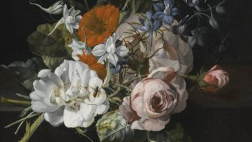 Rachel Ruysch - Still Life Of Flowers With A Nosegay Of Roses, Marigolds, Larkspur, A Bumblebee And Other Insects; work of a woman renaissance artist