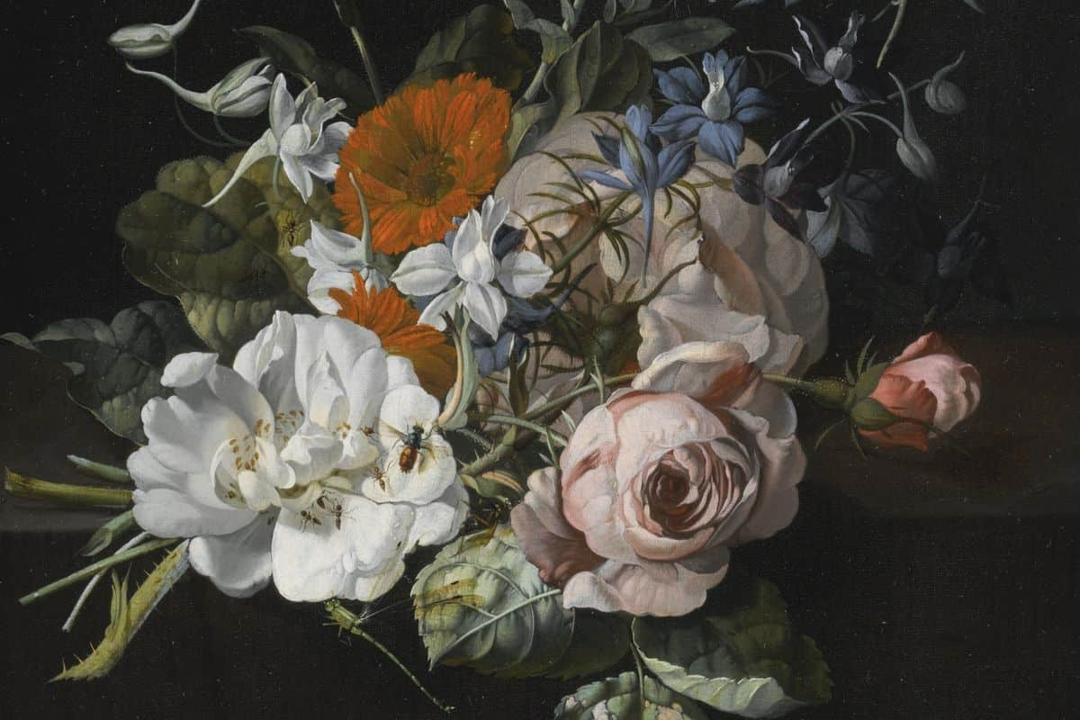 Rachel Ruysch - Still Life Of Flowers With A Nosegay Of Roses, Marigolds, Larkspur, A Bumblebee And Other Insects; history work of a woman renaissance artist