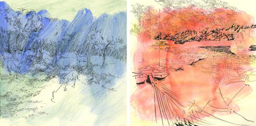 Rada Tzankova - Eau de l'âme 6 (Left) / Eau de l'âme 9 (Right)