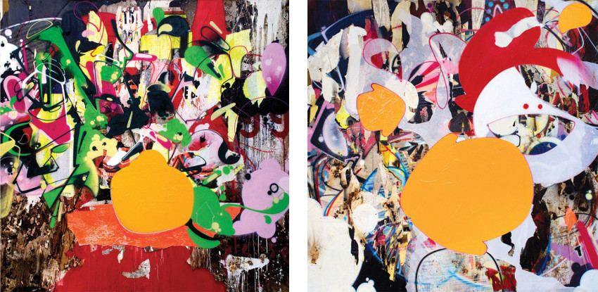 No Nuts No Glory, 2013 (Left) / Smiling Arrows, 2013 (Right) - click home reserved