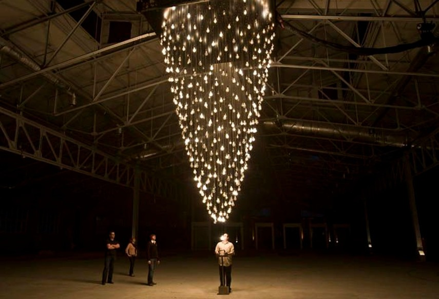 Rafael Lozano-Hemmer - Pulse Spiral in Moscow, 2009 - 2016 works performance project