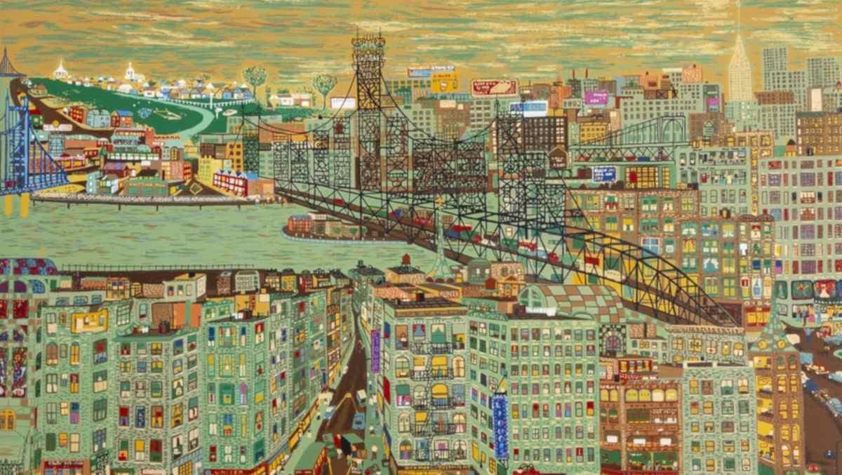 Ralph Fasanella - Bridges, 1974 (detail)