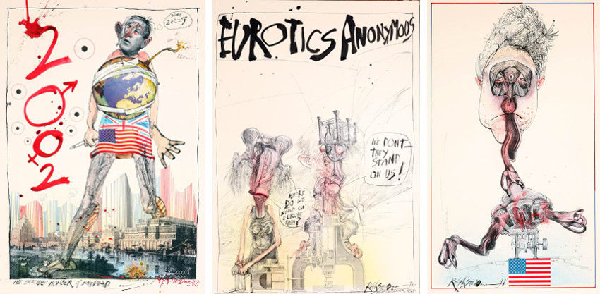 Ralph Steadman - George Bush (Left) - Eurotics Anonymous (Center) - Clinton (Right), shop, print, collection, page